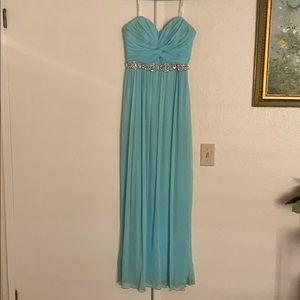 Strapless light blue prom dress